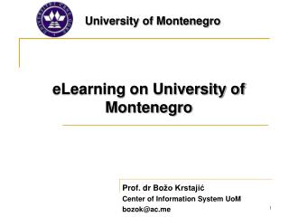 eLearning on University of Montenegro