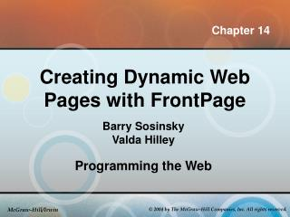 Creating Dynamic Web Pages with FrontPage
