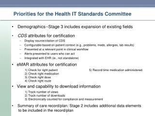Priorities for the Health IT Standards Committee