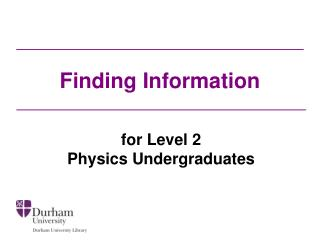 Finding Information