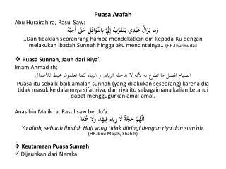 Puasa Arafah Abu Hurairah ra , Rasul Saw: