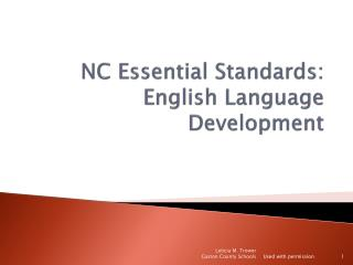 NC Essential Standards: English Language Development