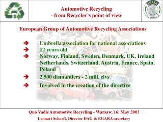 Quo Vadis Automotive Recycling -  Warsaw, 16. May 2003