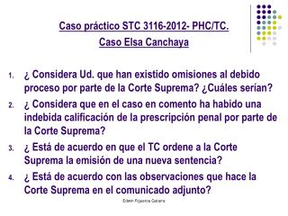 Caso práctico STC 3116-2012- PHC/TC.  Caso Elsa Canchaya