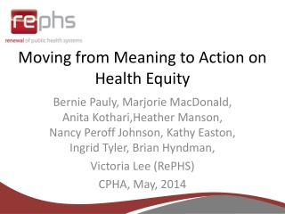 Moving from Meaning to Action on Health Equity