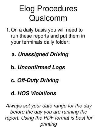 Elog Procedures Qualcomm
