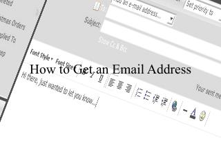 How to Get an Email Address