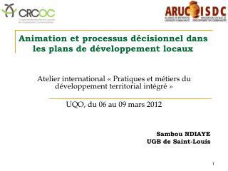 Animation et processus décisionnel dans les plans de développement locaux