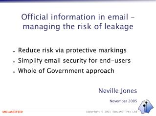 Official information in email – managing the risk of leakage