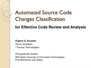 Automated  Source Code Changes Classification