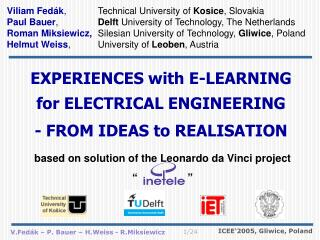 EXPERIENCE S with  E-LEARNING for  ELECTRICAL ENGINEERING  - FROM IDEAS  to  REALISATION
