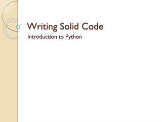 Writing Solid Code
