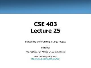 CSE 403 Lecture 25