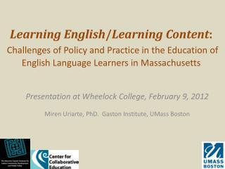 Presentation at Wheelock College, February 9, 2012