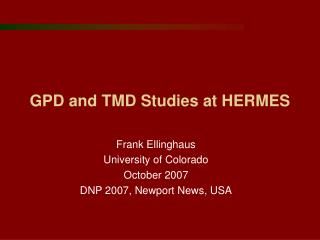 GPD and TMD Studies at HERMES