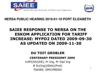 NERSA PUBLIC HEARING 2010-01-19 PORT ELIZABETH