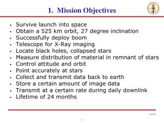 1.  Mission Objectives