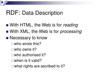 RDF:  Data Description