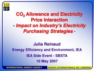 Julia Reinaud Energy Efficiency and Environment, IEA  IEA Side Event - SBSTA 10 May 2007