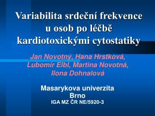 Variabilita srdeční frekvence u osob po léčbě  kardiotoxickými cytostatiky