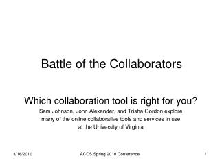 Battle of the Collaborators