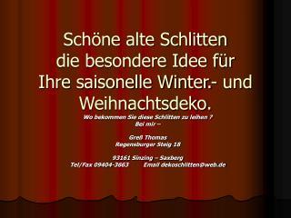 Sch ne alte Schlitten  die besondere Idee f r Ihre saisonelle Winter.- und Weihnachtsdeko.