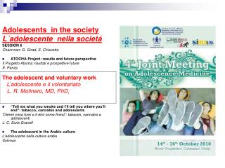 Adolescents  in the society L´adolescente  nella societá SESSION 6