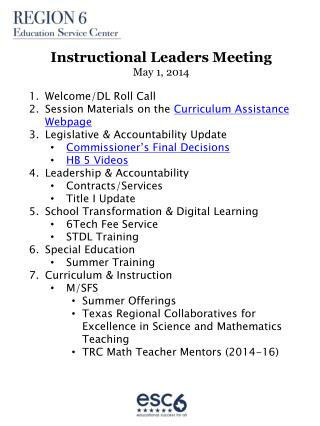 Instructional Leaders Meeting May 1, 2014