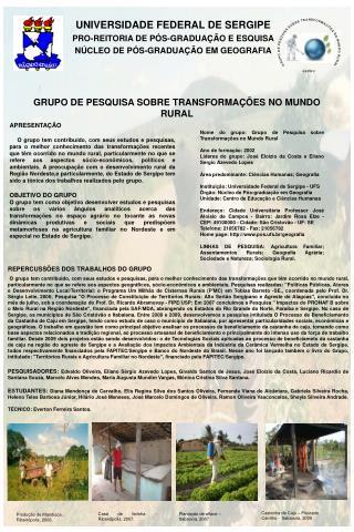 UNIVERSIDADE FEDERAL DE SERGIPE PRO-REITORIA DE P�S-GRADUA��O E ESQUISA