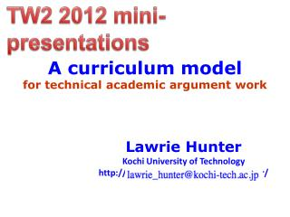 A curriculum model  for technical academic argument work