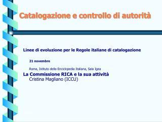 Catalogazione e controllo di autorità