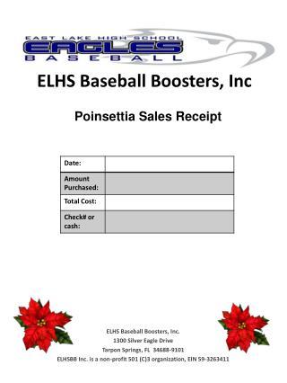 ELHS Baseball Boosters, Inc. 1300 Silver Eagle Drive Tarpon Springs, FL  34688-9101