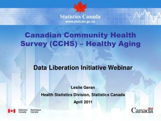 Canadian Community Health Survey (CCHS) – Healthy Aging