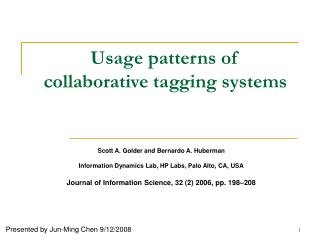 Usage patterns of  collaborative tagging systems