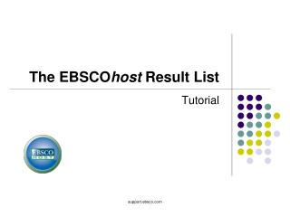 The EBSCO host  Result List