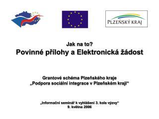 Jak na to? Povinné přílohy a Elektronická žádost Grantové schéma Plzeňského kraje