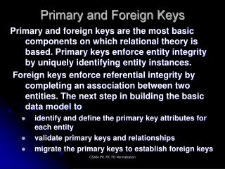 Primary and Foreign Keys