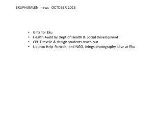 EKUPHUMLENI news   OCTOBER 2013