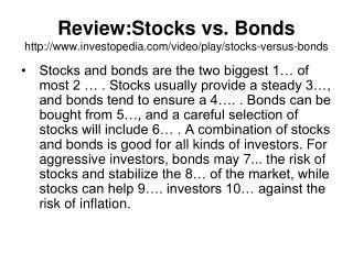Review:Stocks vs. Bonds  investopedia/video/play/stocks-versus-bonds