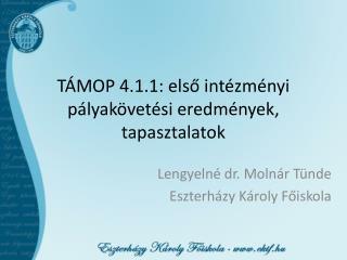 TÁMOP 4.1.1: első intézményi pályakövetési eredmények, tapasztalatok