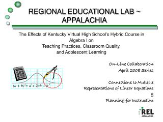 REGIONAL EDUCATIONAL LAB ~ APPALACHIA