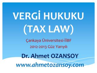 VERGİ HUKUKU (TAX LAW)