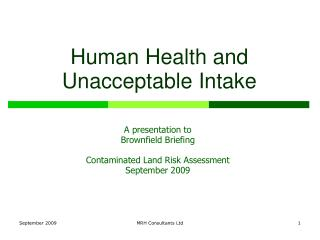 Human Health and Unacceptable Intake