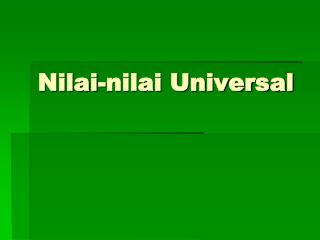 Nilai-nilai Universal