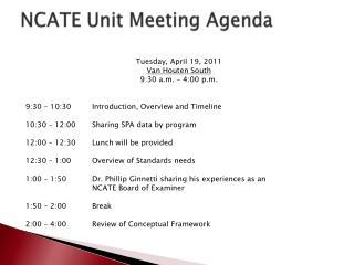 NCATE Unit Meeting Agenda