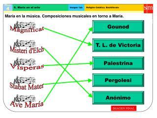 María en la música. Composiciones musicales en torno a María.