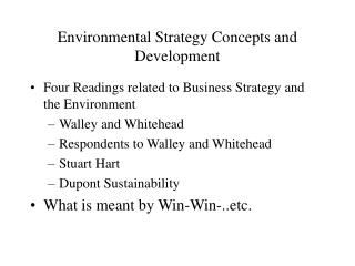 Environmental Strategy Concepts and Development