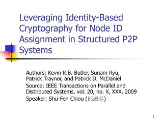 Leveraging Identity-Based Cryptography for Node ID Assignment in Structured P2P Systems