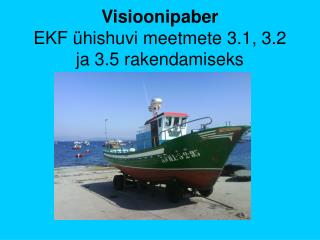 Visioonipaber EKF �hishuvi meetmete 3.1, 3.2 ja 3.5 rakendamiseks