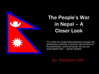The People�s War in Nepal � A Closer Look